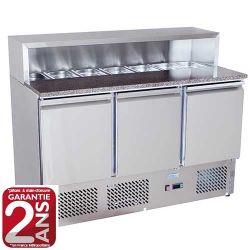 Meuble à Pizza réfrigéré 3 portes en Marbre avec toit inox ou en verre 7 x GN1/3