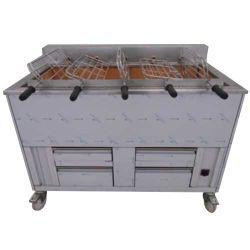 Churrasqueira 5 grilles rotatives (15 poulets) avec ou sans grille fixe supplémentaire 1200x800 mm