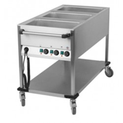 "Bain marie sur chariot ""Mobile"" 3 cuves gastro GN1/1"