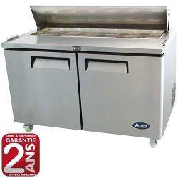 Saladette réfrigérée 2 portes sous plan gamme Américaine avec capot 1300 ou 1500 mm