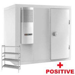 Chambre froide complète positive -4°+4°C avec groupe et rayonnage profondeur 1400x1100 mmmm