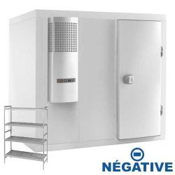 Chambre froide complète négative -18°-23°C avec groupe et rayonnage - 1440x1440 mm