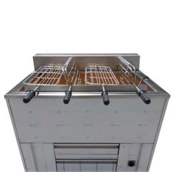Churrasqueira 4 grilles rotatives (12 poulets) avec ou sans grille fixe supplémentaire 1000x800 mm