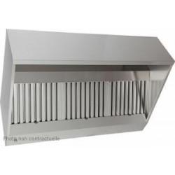Hotte statique inox en trapèze avec filtres chocs - 2500 x 750