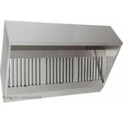 Hotte statique inox en trapèze avec filtres chocs - 2500 x 915