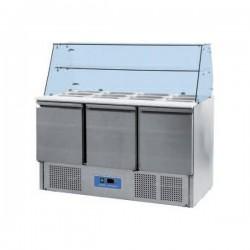 Saladette réfrigérée S900SQRW avec vitrine 2 ou 3 portes GN 1/1 +2°+8°C