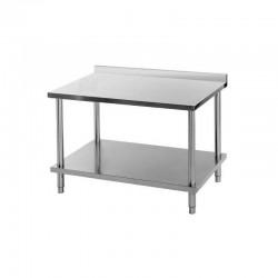 Table de travail inox - adossée - prof. 600mm
