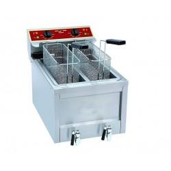 Friteuse électrique professionnelle avec vidange 2x 8 litres 2x5kW